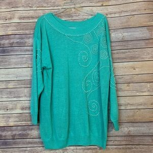Turquoise pearl & silver embroidered sweater